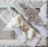 leg garter - 2015 New Sales Sexy lingerie Lace Bridal Garters High Quality Stunning Bow Crystal Wedding Leg Garters Wedding Accessories J001