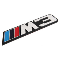 Aluminum Alloy  auto logo suppliers - 3D Aluminum Alloy Car Badge Logo emblema Nameplate Auto Rear Trunk Sticker Emblem Decal Fit For BMW M Power M3 All Years Supplier OEM
