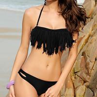 bandeau swimsuit sale - Sexy push up Fringe Bandeau Top Dolly Bikini Women s New Hot Sale Tassels SwimwearSets Swimsuits bkn01