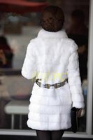 Wholesale NewBrand newWinter Warm Womens Fur Coat Belt Long Jacket Rabbit Fur Collar Snow Overcoat