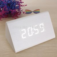 Wholesale High Quality White Wood Triangular White LED Alarm Digital Desk Clock Wooden Thermometer