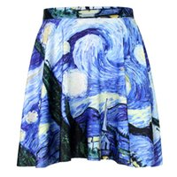 Cheap New 2015 Sexy Women Elegant Blue ink painting Art SKIRT - LIMITED 3D Digital Printing Maxi Pleated Skirts girl casual skirt FG1510