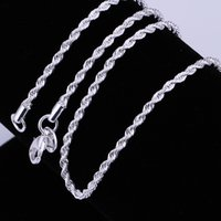 beautiful twist - New Fashion Silver Beautiful Necklaces mm inch Flash twisted rope Necklace Sterling Silver Jewelry n226