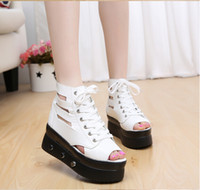 Wholesale the new black and white Thick bottom fish mouth wedge leisure fashion Female chalaza sandal