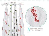 Wholesale Aden Anais Muslin Cotton Newborn Baby Blanket Swaddles Printing Swaddle bath towel infant wraps x120cm