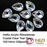 crystal rhinestone hotfix - Iron On Acrylic Rhinestones x14mm Tear Drop Flatback Crystal Clear Hotfix Acrylic Rhinestones For DIY Designs New Strass