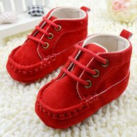 Wholesale Sweet Infant Kids Baby Shoes Lace Soft Red Cotton Crib Shoes First Walkers M
