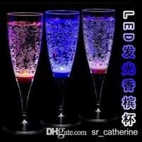 Wholesale 6 CM Liquid active acrylic LED light Champagne cup LED Flash Champagne Drink Cup LED Flash cup club bar wedding supply led color