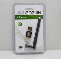 Vente en gros 100pcs RT5370 Mini 150M USB WiFi Carte réseau sans fil 802.11 n / g / b Adaptateur LAN avec antenne Livraison gratuite DHL