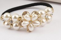 Wholesale 2015 Women Girl pure pearl and Austria Rhinestone rubber band Korean hair accessories Rope Ponytail