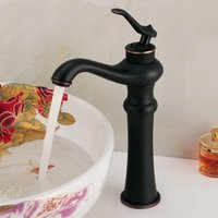 ceramic art basin - High Black fashion faucet vintage cold and hot water brightening copper art basin counter basin black antique faucet MDJ02