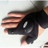 auto repair gloves - Sports Glow Gloves Men Outdoor Auto Repair Fishing Glove Lighting Artifact Cotton Half Finger Gloves ONE SIZE