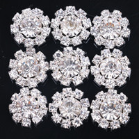 Wholesale SZ DIY mm Round Sunflowers Embellishment alloy Buttons Jewelry findings components silver Crystal Cluster Buckle