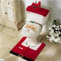 toilet paper - 10PCS NEW free shpping DHL Santa Claus Toilet cover floor mats Tank cover Paper towel set Combination