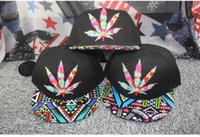 Wholesale Maple leaf color totem embroidery Graffiti flat eaves Hip hop baseball cap colors Outdoor sport hats adjustable caps