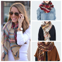 pashmina shawls - Free Fedex Winter New Tartan Scarf Plaid Blanket Scarf New Designer Unisex Acrylic Basic Shawls Women s Scarves Big Size CM