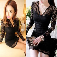 Wholesale New Plus Size Women Clothing Bodycon Lace Dress V Neck Sexy Evening Mini Dress SV001069