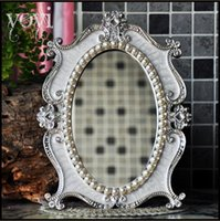 Wholesale European Retro The Royal Silver sapphire Metal table mirror high grade Lovely One side Cosmetic mirror Dressing mirror Decorative mirror