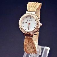 al por mayor tapa neta del vestido-Reloj de las mujeres de la tapa de las señoras de lujo de la marca de fábrica El oro cristalino del Rhinestone de la pulsera de la red del oro mira los relojes de las mujeres del cuarzo Relogio