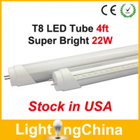 Wholesale US Stock T8 LED Tube Lights ft W SMD2835 AC85 V Clear Milky Cover Cool White K Years Warranty