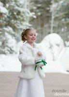Wholesale Cheap Cute Girls Cape Wedding Cloaks Faux Fur Jacket For Winter Kid Flower Girl Shrug Outerwear Coats
