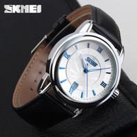 Wholesale Mens business watch SKMEI Luxury Quartz Watches Skmei Genuine Leather Waterproof watches Elegant Watch For Business Men