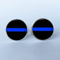 Wholesale 2016 New Design Thin Blue Line Stud CuffLinks Striped Jewelry Black and Blue art photo Cuff Links glass dome Cuff Links