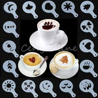 Wholesale New Arrival set Fashion Cappuccino Coffee Barista Stencils Template Strew Pad Duster Spray Tools order lt no track