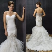 anjolique wedding dresses - 2015 Stunning Mermaid Wedding Dresses Anjolique Collection Sweetheart Floor Length Lace Appliqued Ruched Organza Bridal Gown EM04135