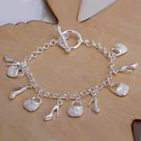 best christmas sales - best nice Christmas jewelry gift hot sale sterling Silver fashion jewelry Charms bag shoes women ladies bracelet H108