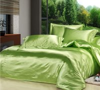 king size bed set - 2015 Spring Summer China Luxury Green Mulberry Silk Satin Bedding Set King Size Comforter Sets Queen Full Twin Size Duvet Cover Bed In a Bag