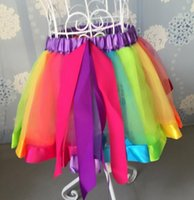 ruffle yarn - Children s ball gown skirts kids girl s contrast color net yarn ribbon bow ruffle TuTu dress toddler party Special Occasions clothing gift