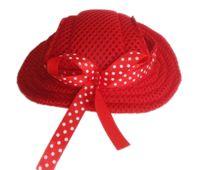apparel hat - Cute Red Princess Mesh Style Pet Dogs Cap Free Ship dog apparel pet supplies dog accessories Dogs hat dogs cap pet hat
