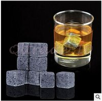 Wholesale 1350pcs CCA2913 High Quality Natural Whiskey Stones set Whisky Stones Cooler Whisky Rock Soapstone Ice Cube With Velvet Storage Pouch