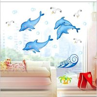 bathroom decorative tile - 10 home decor Bathroom bathroom tile stickers affixed to glass spray dolphin fish decorative wall stickers wall stickers factory DM57