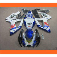 gsxr 600 fairing - Black Blue White Stripe Pattern Style For Suzuki GSXR750 GSXR600 GSXR GSXR k6 Racing Fairing Kit ABS Compression