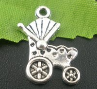 Cheap Free Shipping 250pcs Antique Silver Tone Baby Carriage&Buggy Charms Pendants 19x12mm Jewelry Findings