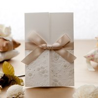 Wholesale NEW Product Hotsale Embossed Tri fold Wedding Invitation With Ribbon Bow Set of Printable and Customizable