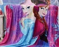 Wholesale New Arrive styles Frozen Blanket Children Cartoon Sleeping Quilt Travel Blanket Snow Queen Elsa Anna Coral fleece blanket cm