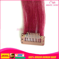 Wholesale 2015 NEW FASHION pieces tape hair with clip in human Hair Extensions color blonde Red Pink Blue Purple clip in hair extensions