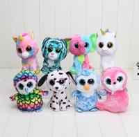 beanie baby dolls - TY big eye plush toys soft multicolour rabbit dolphin Unicorn doll cm stuffed animal doll for baby Beanie Boos