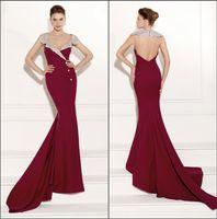 Cheap Amazing Beading Crystal Neckine Evening Dresses Tarik Ediz 2015 Grape Satin Backless Sweep Train Formal Dress Cheap Celebrity Dress TH