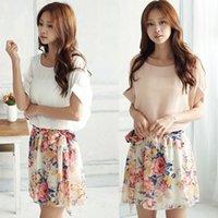 batwing sleeve dress pattern - 1PC Womens Floral Pattern Short Sleeves Chiffon Summer Mini Dress Freeshipping