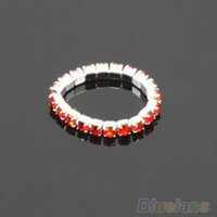 Wholesale 12Pcs Pack Elastic Crystal Toe Rings Mixed Color Body Jewelry T4