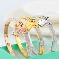 Wholesale 2016 hot sale Luxury Titanium lock charm bracelets crystal shiny bangle band cuffs for lovers statement jewelry Christmas gift