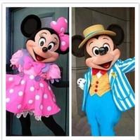 Fast boda de envío libre de Mickey Minnie de la mascota del traje del ratón Disfraces de Carácter partido Disfraz