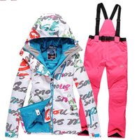 Wholesale Diamond level Women s Snowboarding Jacket and pants Waterproof Ski Jacket Veneer Ski Suit set