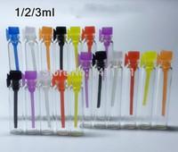 Livraison gratuite, 1ML mini-parfum flacon en verre, parfum échantillon de liquide flacon, testeur bouteille Tube bouchon Colorful