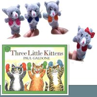 Birth-12 months baby doll kittens - 48PC Nursery Rhyme Puppets The Three Little Kittens Plush Finger Puppets Pattern For Kids Educational Talking Props Baby Toy
