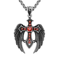 accent cross necklace - Men s Vintage L Stainless Steel Eagle Tercel Wings Cross Red Ruby CZ Accents Angel Wing Pendant Round Rolo Links Chain Gothic Necklaces